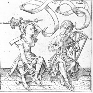 The Backwards World: Woman swings scepter while man spins thread - Israhel van Meckenenem 15th c