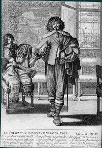 French courtier exchanging finery for more sober clothes following the Dernier Edict of 1633, by Abraham Bosse