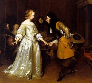 An officer making his bow to a lady - Gerard Ter Borch, 1662