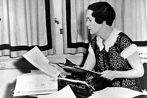 Margaret Mitchell at typewriter where she wrote Gone With the Wind.
