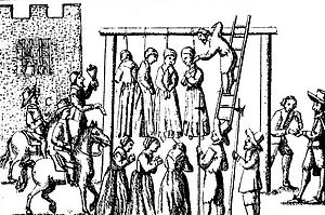 Image of witches being hanged, from Ralph Gard...