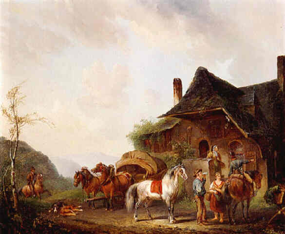 Pieter van Os Horsemen and travellers outside an inn Lodgings in Fantasy Settings: Where Do Adventurers Spend the Night?